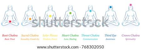 Chakras Meditating Woman Sitting Yoga Meditation Stock Vector