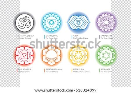 Chakras Set Om Ayurveda Spirituality Yoga Stock Vector 518024899