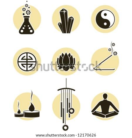 Chakras symbols and spirituality icon set - stock vector