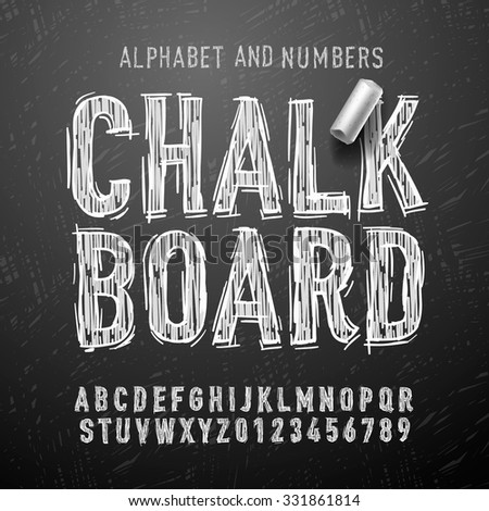 Chalk alphabet letters and numbers, vector Eps10 illustration. - stock vector