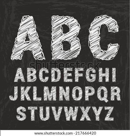 Chalk alphabet on black background. Vector illustration - stock vector
