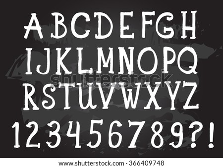 Chalk alphabet. Retro type font. Hand written ABC.
