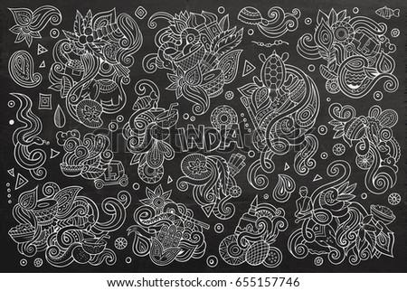 Chalk Board Vector Hand Drawn Doodle Stock Vector 655157746