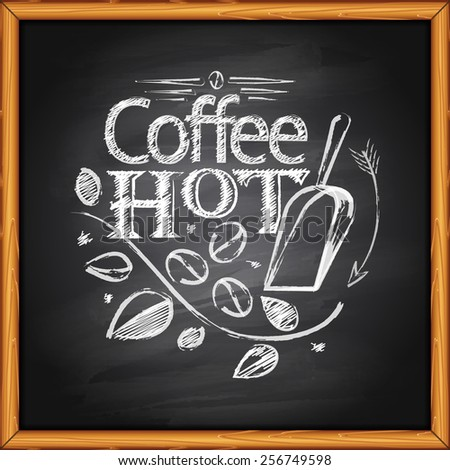 Chalk coffee logo on chalkboard background - stock vector