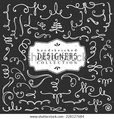 Chalk decorative curls and swirls. Designers collection. Hand drawn illustration. Design elements. - stock vector