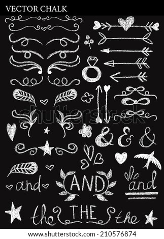 Chalk Decorative Design Elements  for wedding invitations, save the date cards and other designs. - stock vector