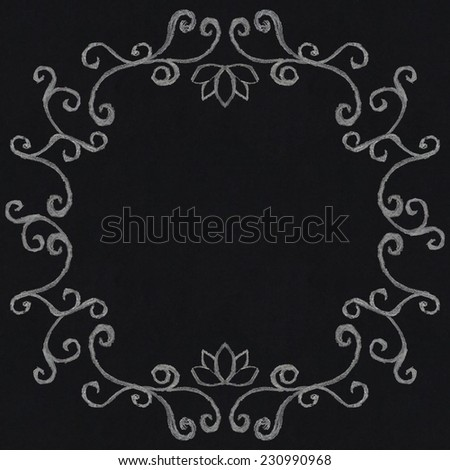 Chalk decorative frame on blackboard background in vintage style - stock vector