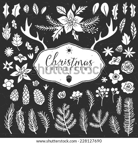 Chalk decorative plant items. Christmas collection. Hand drawn illustration. Design elements. - stock vector