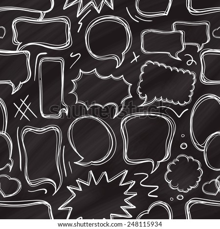 Chalk doodle speech bubbles seamless pattern. - stock vector