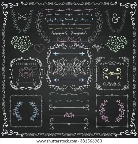 Chalk Drawing Colorful Hand Drawn Sketched Decorative Doodle Design Elements. Frames, Text Frames, Dividers, Floral Branches, Borders, Brackets on Chalkboard Texture. Vector Illustration - stock vector