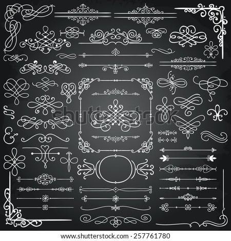 Chalk Drawing Doodle Design Elements. Frames, Borders, Swirls. Blackboard Texture. Vector Illustration - stock vector