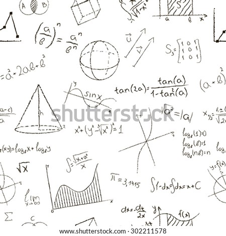 Chalk drawing effect. Math formulas and graphs on white background. Seamless pattern. Vector illustration.
