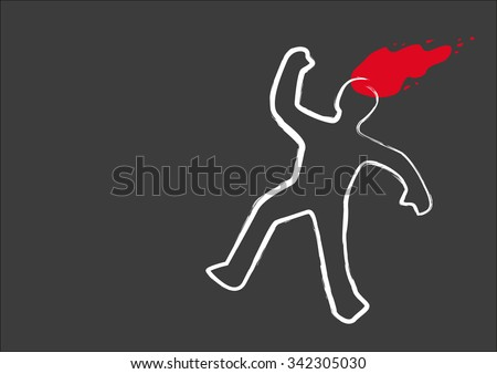 Chalk Drawing line and a blood splat of a Murder Victim. Editable Clip Art. - stock vector
