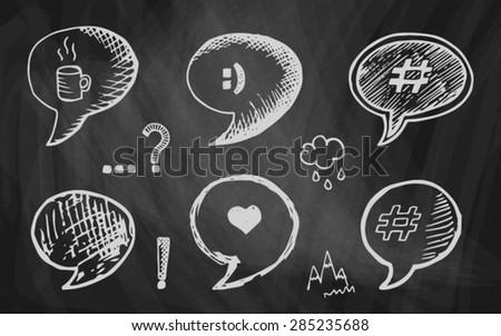 chalk drawing speech bubble on the chalkboard - stock vector