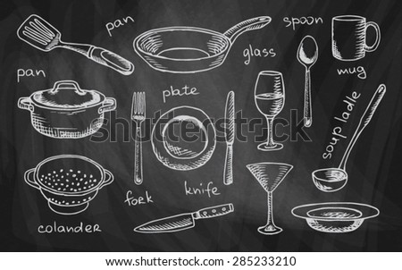 chalk drawing tableware on the chalkboard - stock vector