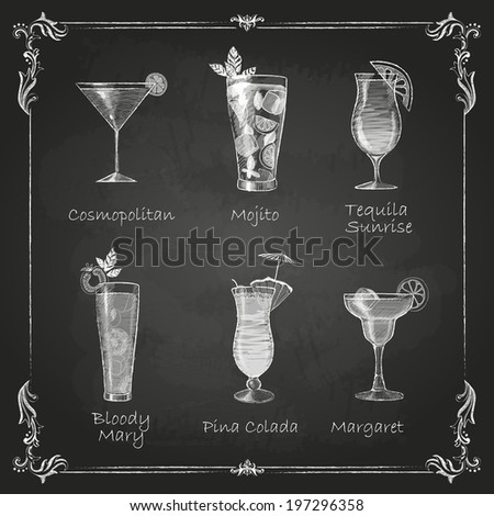 Chalk drawings. cocktail menu - stock vector