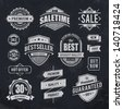 Chalk drawn sale emblems. Set of retro styled trade badges. Vector illustration. - stock vector
