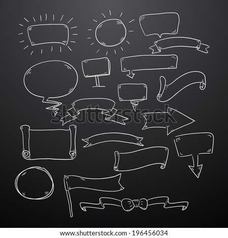Chalk drawn speech bubbles ribbons and some other useful things. Vector eps10 - stock vector