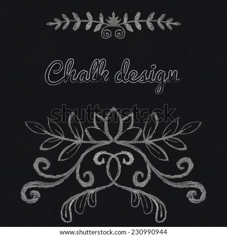 Chalk floral ornament in retro style - stock vector