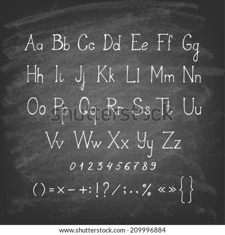 Chalk hand drawing alphabet. Vector illustration. - stock vector