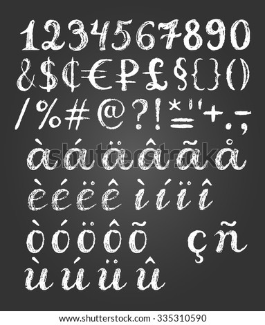 Chalk hand drawn font elements set with digits, special symbols and letters with diacritic signs. Simple sketch illustration. Background contains gradient.  - stock vector