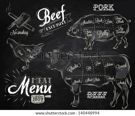 Chalk Illustration of a vintage graphic element on the menu for meat steak cow pig chicken divided into pieces of meat - stock vector