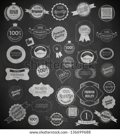 Chalk label of drawing with chalk on blackboard - stock vector