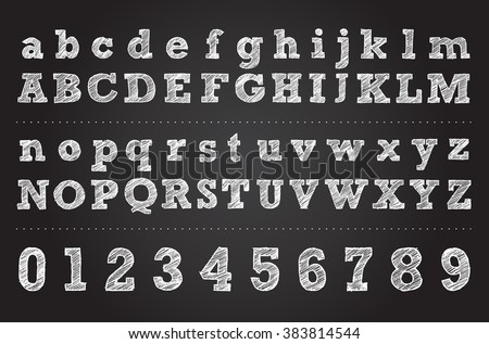 chalk letter design vector hand drawn alphabet illustration of letters and numbers