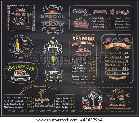 Chalk menu list blackboard designs set for cafe or restaurant, sushi menu, desserts, seafood, fish bar, cocktails, beer, burgers and sandwiches, copy space mock up hand drawn illustration