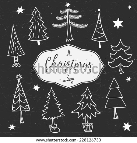 Chalk outline winter tree. Christmas collection. Hand drawn illustration. Design elements. - stock vector