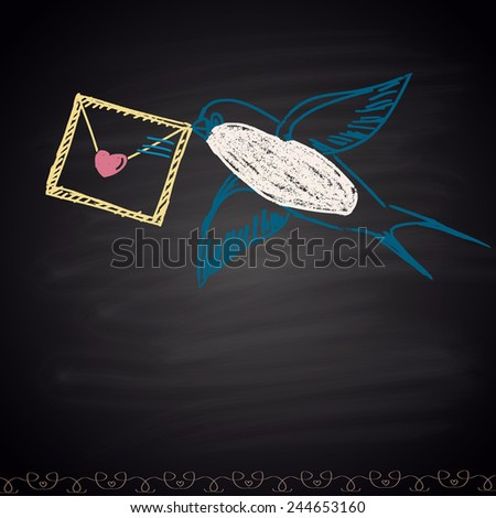 Chalk painted pastel illustration with valentine and swallow. Happy Valentine's Day theme. - stock vector