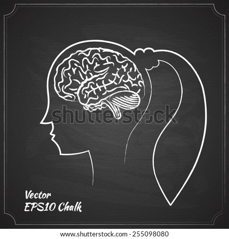 chalk painted woman brain on the chalkboard vector illustration