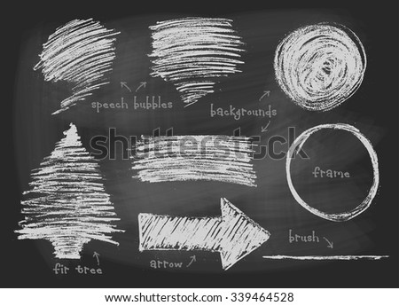 Chalk, pastel or pencil drawn graphic elements collection - speech bubbles, backgrounds, round frame, arrow, fir tree, stripe, brush template. Vector illustration. - stock vector