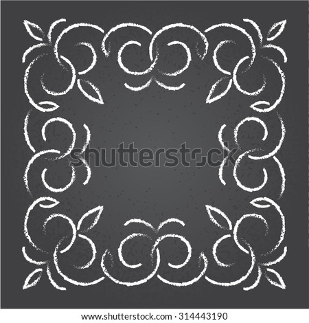 Chalk retro graphic line elements, dividers and monogram frame on a blackboard, vector design. - stock vector