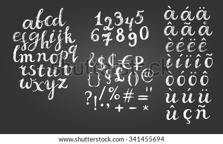 Chalk script font. Lowercase letters, digits, diacritics letters, special symbols and money signs.  - stock vector