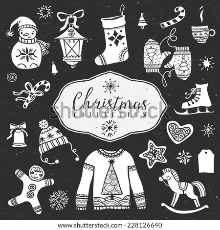 Chalk set of decorative festive illustrations. Christmas collection. Hand drawn illustration. Design elements. Vol.1 - stock vector