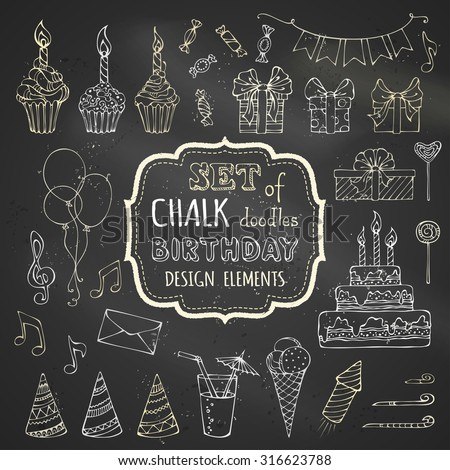 Chalk set of hand-drawn birthday design elements. Vector chalk garlands and balloons, music notes, gift boxes, party blowouts, cakes and candies, birthday cake, party hats on blackboard background. - stock vector