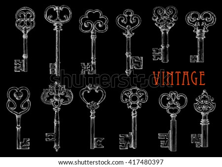 Chalk sketch drawings of vintage victorian skeleton keys on blackboard for fashion theme or t-shirt print design usage with ancient furniture and door lock keys with openwork ornamental bows