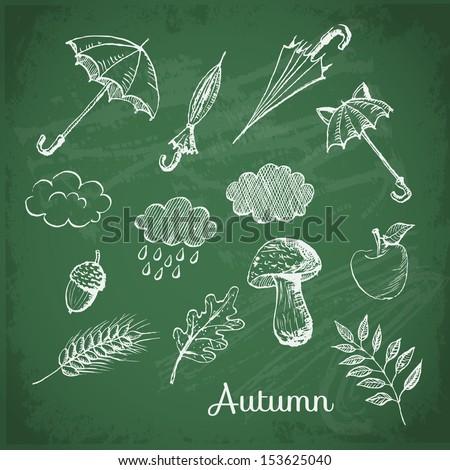 Осень рисунок на доске