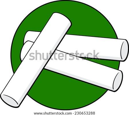 chalk sticks - stock vector