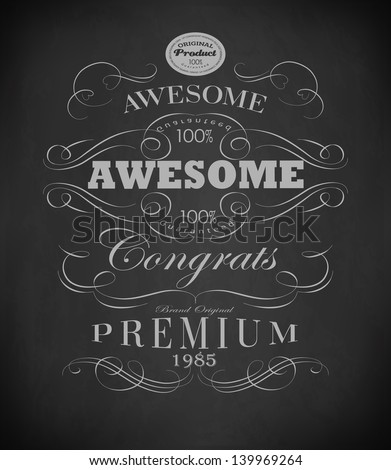 Chalk  typography, calligraphic design elements, page decoration and labels // drawing with chalk on blackboard - stock vector
