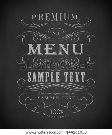 Chalk  typography, calligraphic design elements, page decoration of drawing with chalk on blackboard - stock vector