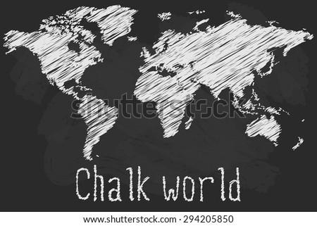 Chalk world map - stock vector