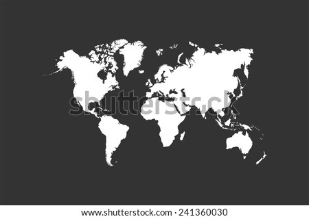Chalk World Map On Blackboard Vector - stock vector