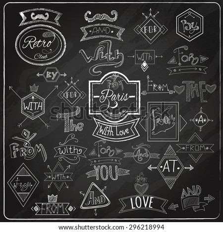 Chalk written prepositions catchwords signs collection with paris romantic heart love  emblem composition blackboard abstract vector illustration - stock vector