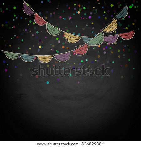 Chalkboard background with drawing bunting flags. Vector texture EPS10 - stock vector