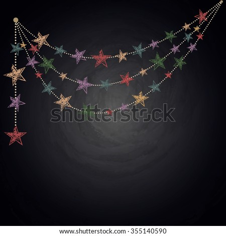 Chalkboard background with drawing bunting stars. Vector illustration - stock vector