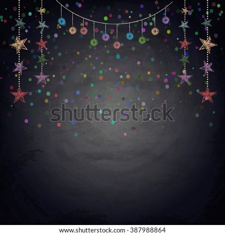 Chalkboard background with drawing bunting stars. Vector illustration