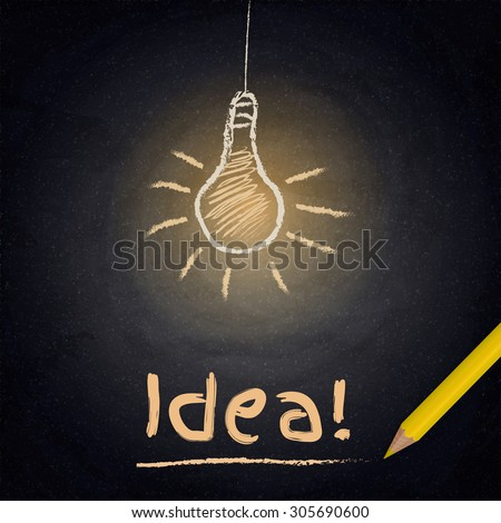 Chalkboard background with drawing lamp. Idea concept. Vector illustration - stock vector