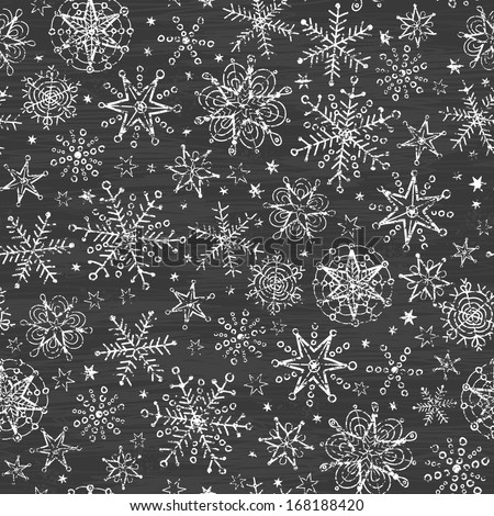 chalkboard black and white snowflakes seamless pattern background - stock vector